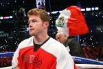 """HOUSTON, TX - MAY 9: Saul """"Canelo"""" Alvarez before his bout against James Kirkland (not shown) at Minute Maid Park on May  9, 2015 in Houston, Texas. (Photo by Ed Mulholland/Golden Boy/Golden Boy via Getty Images) *** Local Caption ***Saul Alvarez; James Kirkland"""