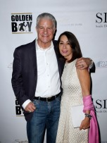 """""""LAS VEGAS, NV - MAY 06: Jim Lampley and Debra Schuss arrive at Smile Design Gallery's """"The Art of Boxing"""" event at Hakkasan Las Vegas Restaurant and Nightclub at MGM Grand Hotel & Casino May 6, 2016 in Las Vegas. (Photo by Isaac Brekken/Getty Images for Smile Design Gallery)"""""""