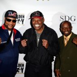 """""""LAS VEGAS, NV - MAY 06: Mustafa Muhammad, (L-R) Leon Spinks and Kevin Kelley arrive at Smile Design Gallery's """"The Art of Boxing"""" event at Hakkasan Las Vegas Restaurant and Nightclub at MGM Grand Hotel & Casino May 6, 2016 in Las Vegas. (Photo by Isaac Brekken/Getty Images for Smile Design Gallery)"""""""