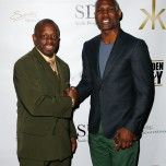 """""""LAS VEGAS, NV - MAY 06: Kevin Kelley (L) and Bernard Hopkins arrive at Smile Design Gallery's """"The Art of Boxing"""" event at Hakkasan Las Vegas Restaurant and Nightclub at MGM Grand Hotel & Casino May 6, 2016 in Las Vegas. (Photo by Isaac Brekken/Getty Images for Smile Design Gallery)"""""""