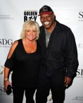 """LAS VEGAS, NV - MAY 06: Brenda Spinks and Leon Spinks arrive at Smile Design Gallery's ""The Art of Boxing"" event at Hakkasan Las Vegas Restaurant and Nightclub at MGM Grand Hotel & Casino May 6, 2016 in Las Vegas. (Photo by Isaac Brekken/Getty Images for Smile Design Gallery)"""