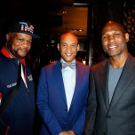 """""""LAS VEGAS, NV - MAY 06: Mustafa Muhammad (L-R) Grady Spivey and Dr. Lee Gause attend Smile Design Gallery's """"The Art of Boxing"""" event at Hakkasan Las Vegas Restaurant and Nightclub at MGM Grand Hotel & Casino May 6, 2016 in Las Vegas. (Photo by Isaac Brekken/Getty Images for Smile Design Gallery)"""""""