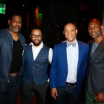 """""""LAS VEGAS, NV - MAY 06: Malik Chambers, (L-R) Grady Spivey, Dr. Lee Gause and Bernard Hopkins attend Smile Design Gallery's """"The Art of Boxing"""" event at Hakkasan Las Vegas Restaurant and Nightclub at MGM Grand Hotel & Casino May 6, 2016 in Las Vegas. (Photo by Isaac Brekken/Getty Images for Smile Design Gallery)"""""""