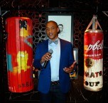 """""""LAS VEGAS, NV - MAY 06: Dr. Lee Gause introduces the auction during Smile Design Gallery's """"The Art of Boxing"""" event at Hakkasan Las Vegas Restaurant and Nightclub at MGM Grand Hotel & Casino May 6, 2016 in Las Vegas. (Photo by Isaac Brekken/Getty Images for Smile Design Gallery)"""""""